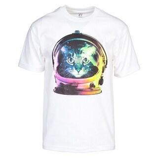 Men's Rainbow Space Kitten Astronaut Short-Sleeve T-Shirt