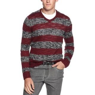 Kenneth Cole Reaction Mens' Chunky V Neck Sweater Medium M Stripe