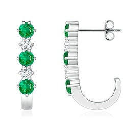 Round Diamond and Emerald J-Hoop Earrings in White Gold