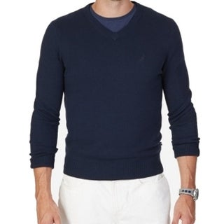 Nautica NEW Blue Mens Size Large L V-Neck Solid Pullover Sweater