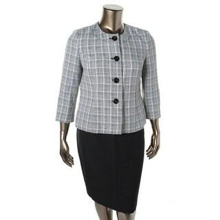 Le Suit Womens Petites Vienna Tweed 2PC Skirt Suit - 12P