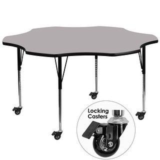 Fun & Games Activity Table 60'' Flower Grey Thermal Laminate Adj Height w/Wheels