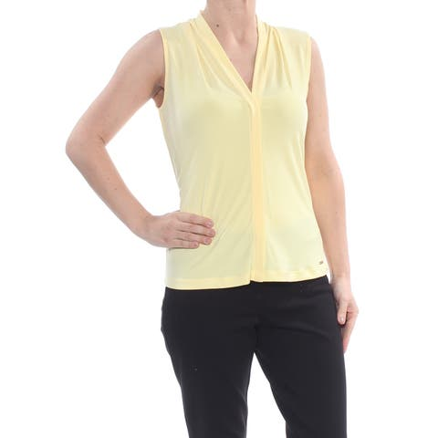 CALVIN KLEIN Womens Yellow Sleeveless V Neck Blouse Top Petites Size: S
