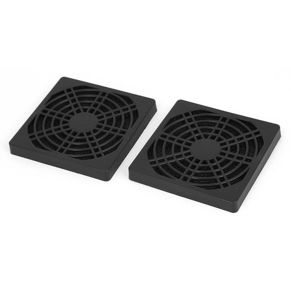 2pcs 85mm Black Plastic Computer PC Cooling Fan Cover Dust Filter Protector Net
