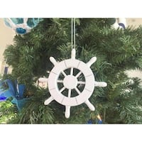 6 in. White Decorative Ship Wheel Christmas Tree Ornament