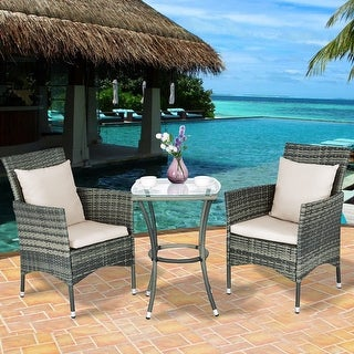 Costway 3PCS Patio Rattan Furniture Set Chairs & Table Garden Coffee - as pic