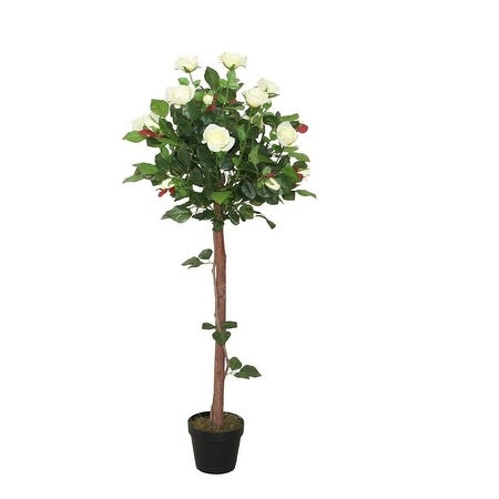 "49.5"" Decorative Potted Artificial White Floral Rose Garden Tree"