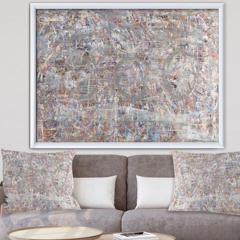 Designart 'Blue And Gray Texture Painting' Modern & Contemporary Premium Framed Art Print