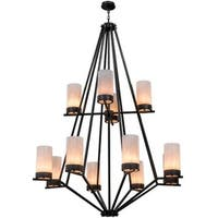 2nd Ave Lighting  12 Light Galen Two Tier Chandelier - Black Textured
