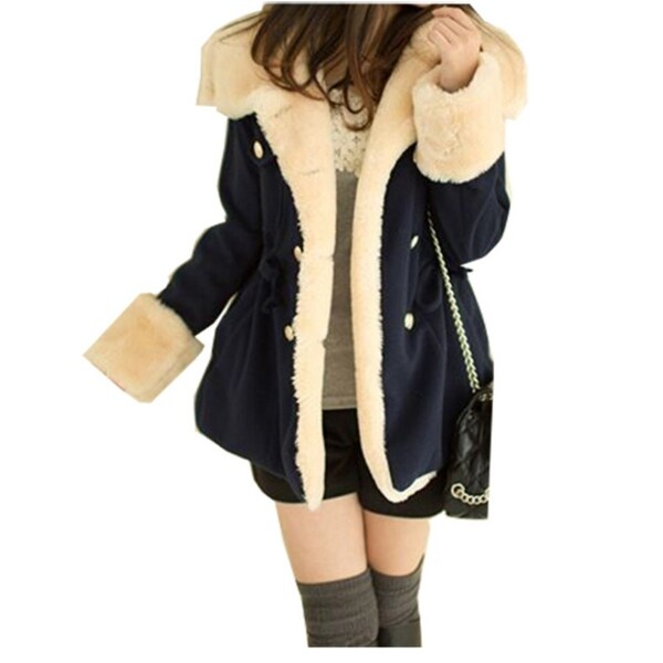 Coats Women Wool Slim Double Breasted Wool Coat Winter Jacket Plus Size. Opens flyout.