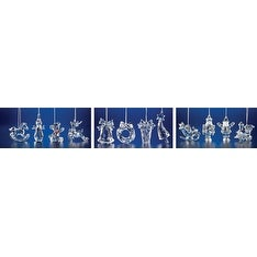 "Club Pack of 48 Icy Crystal Assorted Christmas Toy Ornament Collections 3"" - CLEAR"