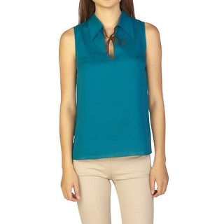 Miu Miu Women's Cotton Sleeveless Blouse Turquoise