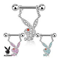 Playboy Bunny with Multi Paved Gems Dangle 316L Surgical Steel Nipple Bar (Sold Individually)