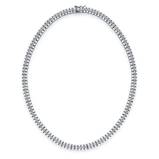 Bling Jewelry Bridal Style Cubic Zirconia Tennis Necklace Rhodium Plated
