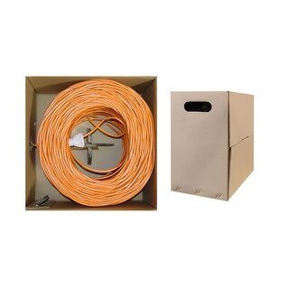 Offex Bulk Cat6 Orange Ethernet Cable, Stranded, UTP (Unshielded Twisted Pair), Pullbox, 1000 foot