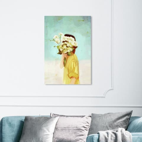 Wynwood Studio 'Wallflower Girl' Fashion and Glam Wall Art Canvas Print Outfits - Green, Yellow