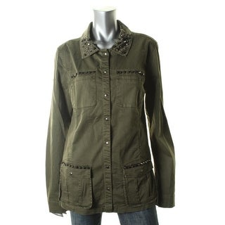 Guess Womens Twill Studded Military Jacket - S