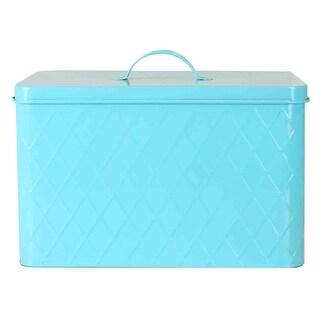 Home Basics Vintage Tin Bread Box, Argyle Pattern, Turquoise, 13.25x8.5x10 Inches