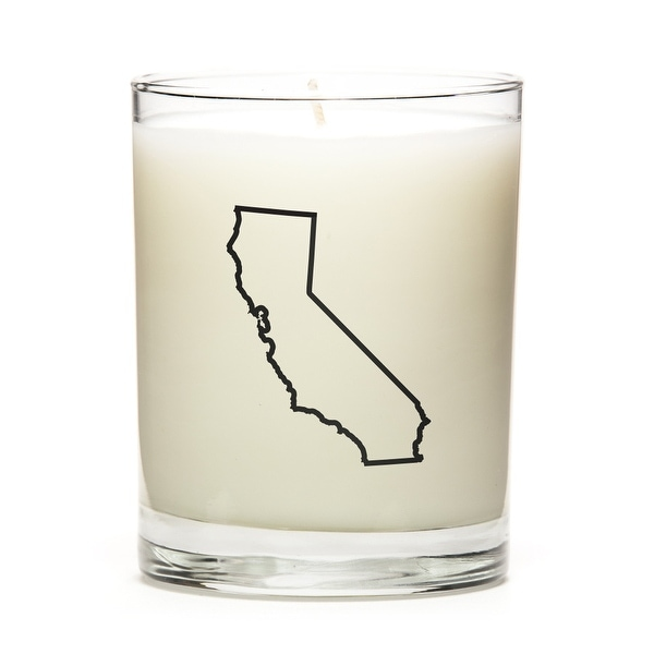 State Outline Soy Wax Candle, California State, Lemon