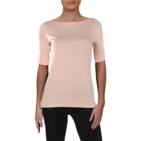 Lauren Ralph Lauren Womens Judy Blouse Rolled Short Sleeves