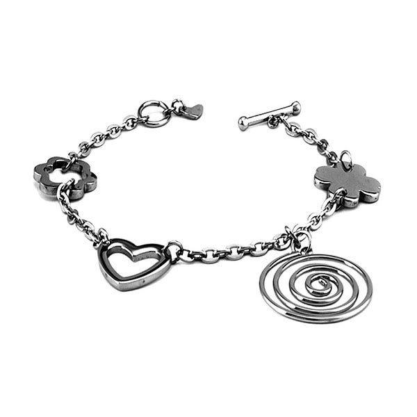Stainless Steel Multiple Charm Bracelet - 7.5 inches