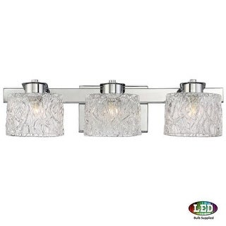 """Platinum PCSW8603LED Seaview 3 Light 22"""" Wide Bathroom Vanity Light with Glass Bell Shades"""