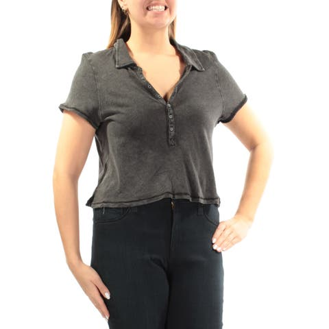 WE THE FREE Womens Black Short Sleeve V Neck Hi-Lo Top Size: L