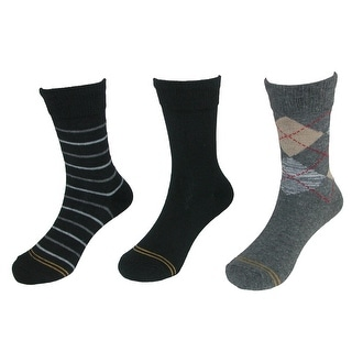 Gold Toe Boy's Argyle and Stripe Crew Socks (3 Pair Pack)