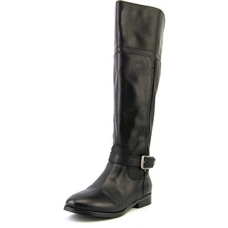 Marc Fisher Aysha Wide Calf Women  Round Toe Leather Black Knee High Boot