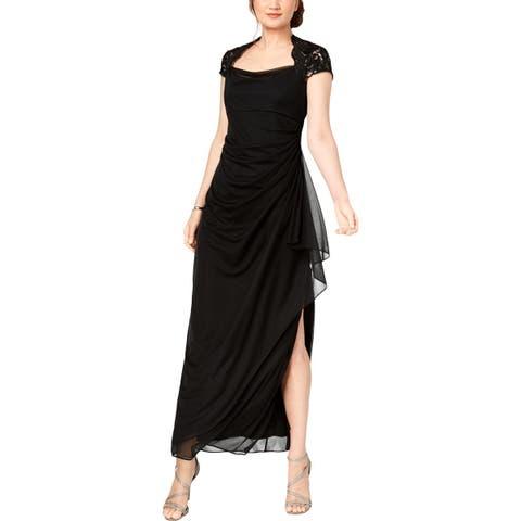 Alex Evenings Womens Formal Dress Lace Cap Sleeves