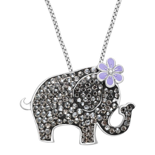 Crystaluxe Elephant Pendant with Swarovski elements Crystals in Sterling Silver