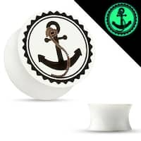 Anchor Print Glow in the Dark Double Flared Acrylic Saddle Plug (Sold Individually)