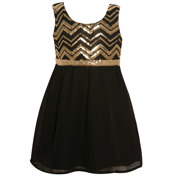 f615db9e5fe9 Shop Little Girls Black Gold Sparkle Chevron Sequin Adorned Christmas Dress  - Free Shipping On Orders Over $45 - Overstock - 18533280