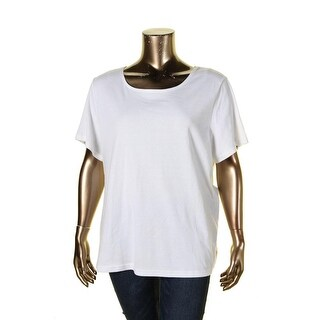 Karen Scott Womens Plus Casual Top Pique Scoop Neck