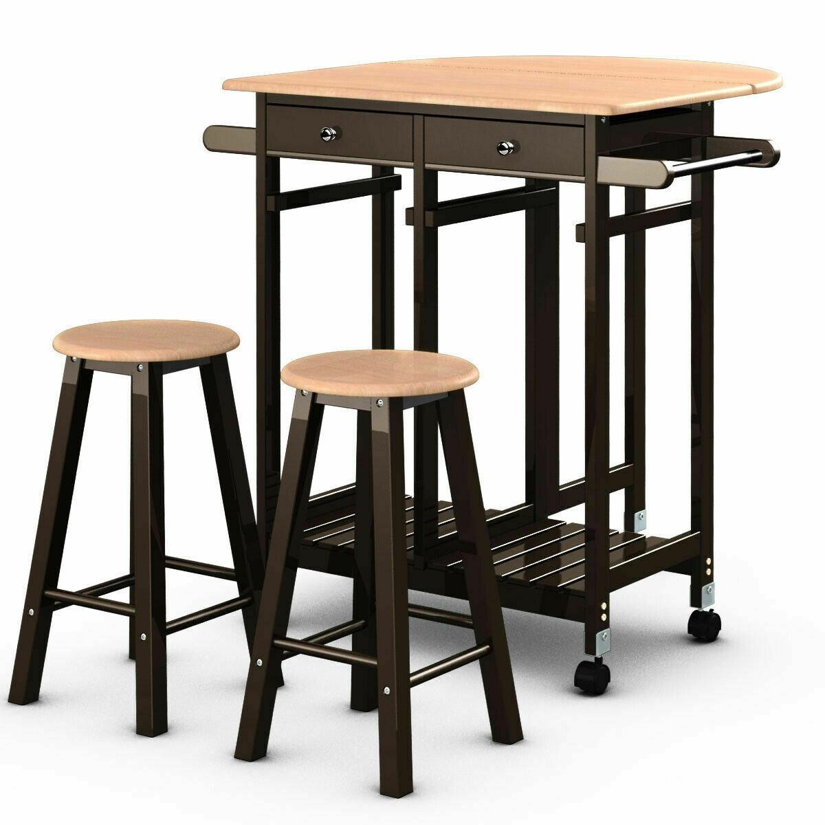 Costway 3PC Wood Kitchen Island Rolling Cart Set Dinning Drop Leaf Table w/  2 Stools