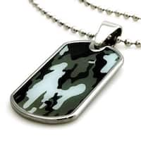 Tungsten Blue Abstract Soldier Camouflage Print Dog Tag ID Pendant - 24 inches