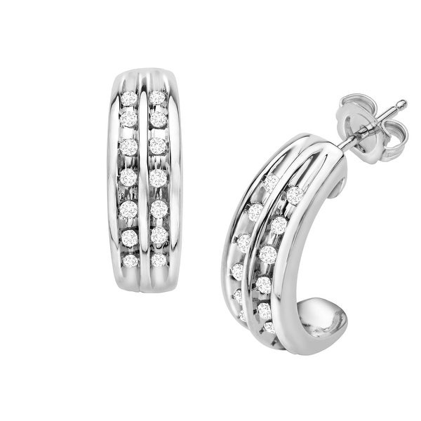 1/4 ct Diamond Half-Hoop Earrings in Sterling Silver