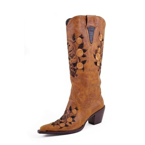 Roper Western Boots Womens Skull Embroider Tan