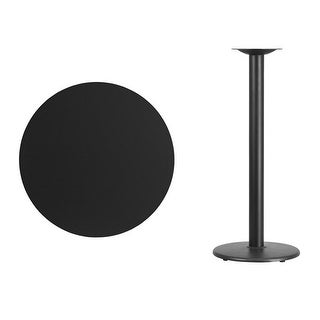 Offex 30'' Round Black Laminate Table Top with 18'' Round Bar Height Table Base [OF-XU-RD-30-BLKTB-TR18B-GG]