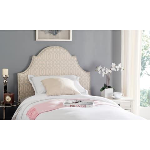 SAFAVIEH Hallmar Silver/ Cream Upholstered Arched Headboard - Silver Nailhead (Twin)