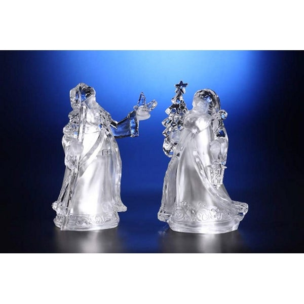 """Pack of 4 Icy Crystal Decorative Illuminated Father Christmas Figurines 7"""" - CLEAR"""