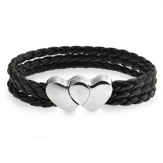 Bling Jewelry Braided Black Leather Double Heart Bracelet Stainless Steel