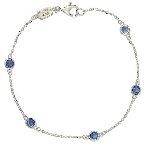 Suzy Levian Sapphire 1 cttw Sterling Silver Station Bracelet