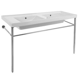 "Nameeks 3006-CON  Scarabeo 48"" Ceramic Double Basin Bathroom Sink For Console Installation"