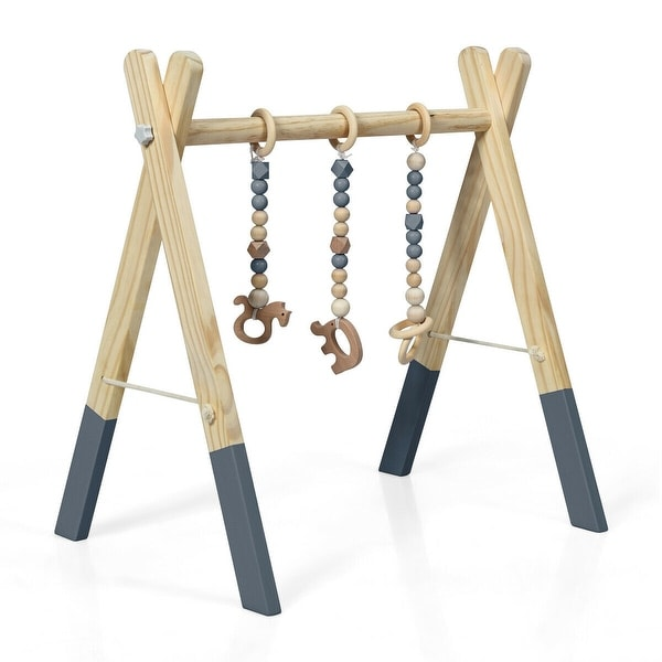 3 Wooden Baby Teething Toys Hanging Bar-Gray - Grey. Opens flyout.