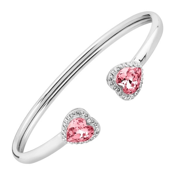 Crystaluxe Heart Cuff Bracelet With Swarovski Crystals In Sterling Silver Pink