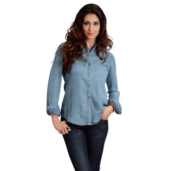 7deadf0492d Shop Stetson Western Shirt Womens Solid L S Snap Blue - Free ...