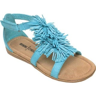 Minnetonka Girls' Eloise Fringe Sandal Turquoise Microsuede