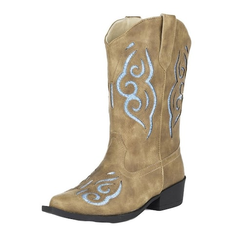 Roper Western Boots Girls Glitter Gracie Tan