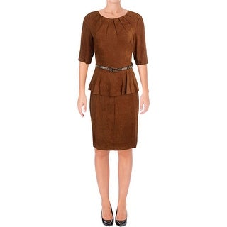Connected Apparel Womens Casual Dress Faux Suede Peplum (5 options available)